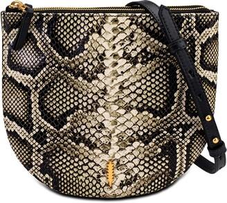 THACKER Cece Python Embossed Leather Saddle Crossbody