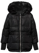 DKNY Black Hooded Puffer Coat with Fleece Lining