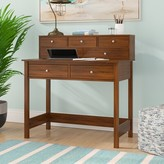 Beachcrest Home Strickland Secretary Desk with Hutch