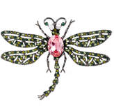 Kenneth Jay Lane Gunmetal and Silver-Plated Green and Pink Crystal Dragonfly Brooch