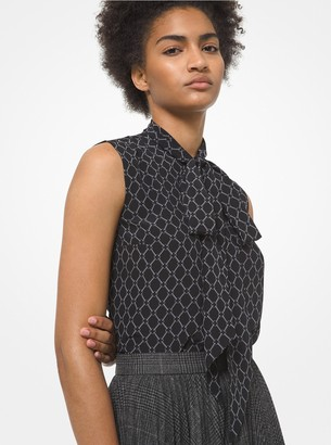 Michael Kors Collection Chain Link Silk Crepe De Chine Ascot Blouse
