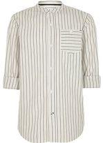 River Island Boys Cream stripe grandad shirt