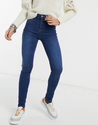 Dr. Denim Plenty mid rise super skinny jeans in dark blue