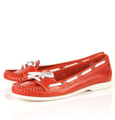 KIP Red Leather Boat Shoes