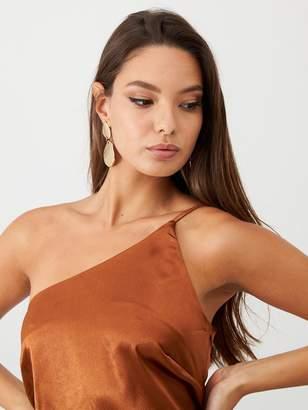 Little Mistress Satin One Shoulder Midi Dress - Rust