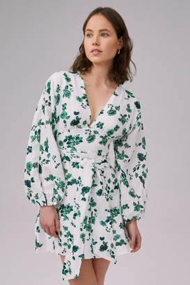 Keepsake FALLEN LONG SLEEVE MINI DRESS ivory w jade floral