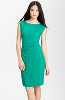 Cap Sleeve Stretch Jersey Sheath Dress