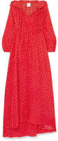 Vetements Hooded Printed Silk Crepe De Chine Maxi Dress - Red