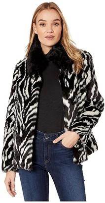 Sam Edelman Zebra Stripe Faux Fur Jacket (Stripe Animal) Women's Coat
