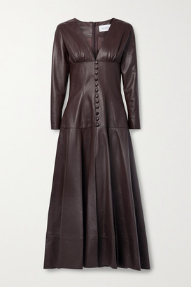 16Arlington Daylily Leather Maxi Dress - Chocolate