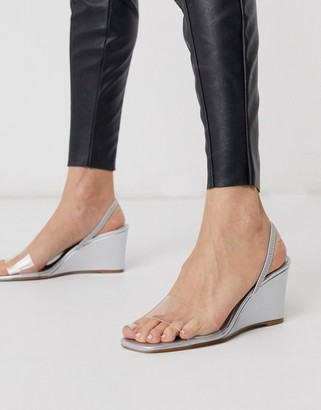 Who What Wear Thalia perspex mix wedges in mirrored silver
