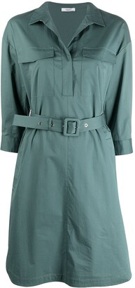 Peserico Belted Cotton Shirt Dress