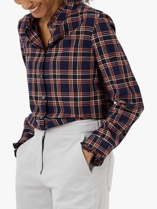 Brora Check Cotton Shirt, Navy/Coral