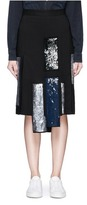 MSGM Sequin stripe appliqué crepe skirt