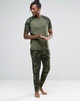 Asos Loungewear Skinny Joggers In Camo Print
