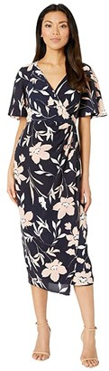 Maggy London Floral Midi Wrap Dress (Navy/Blush) Women's Dress