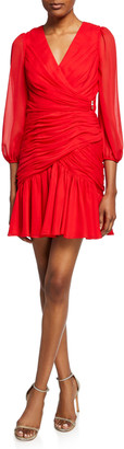 Jill by Jill Stuart Shirred Blouson-Sleeve Faux-Wrap Dress