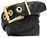 Michael Kors Grommet-Embellished Quilted-Leather Belt
