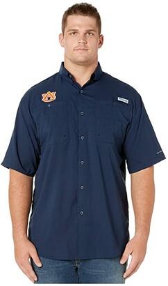 Columbia College Big Tall Auburn Tigers Collegiate Tamiamitm II Short Sleeve Shirt (Collegiate Navy) Men's Short Sleeve Button Up