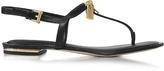 Michael Kors Black Leather Suki Lock Charm Thong Sandal