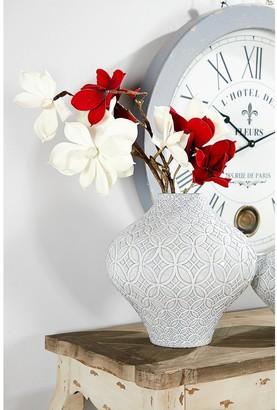 Studio 350 Round French Country Ceramic Vase w/ Decorative Relief Design