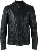 Philipp Plein quilted panel biker jacket - men - Calf Leather/Viscose - M