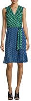 Diane von Furstenberg Bethanie Diagonal Dots Flounce Wrap Dress, Green
