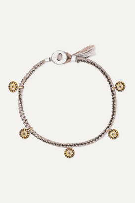 Brooke Gregson Coin 14-karat Gold, Sterling Silver, Silk And Diamond Bracelet - one size