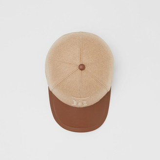 Burberry Monogram Motif Cashmere and Leather Baseball Cap