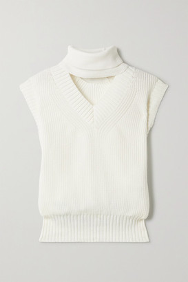 Sacai Cutout Cotton-blend Turtleneck Sweater - Ivory