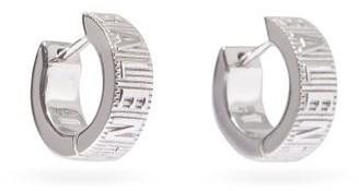 Balenciaga Force Logo-stripe Sterling-silver Hoop Earrings - Silver
