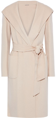 Elie Tahari Shea Belted Wool-blend Felt Hooded Coat