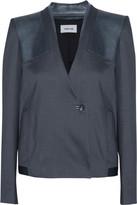 Helmut Lang Matrix leather-trimmed linen-blend blazer