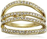 Rebecca Minkoff Gold and Crystal Four Band Ring, Size 7