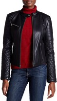 Levi's Genuine Leather Quilted Sleeve Motorcycle Jacket