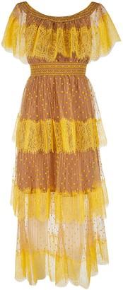 Self-Portrait Polka Dot Off-shoulder Midi Dress