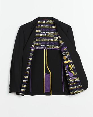 Express Slim Black Los Angeles Lakers Nba Performance Tech Suit Jacket