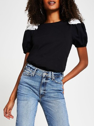 River Island Sequin Bow Front Print T-shirt - Black