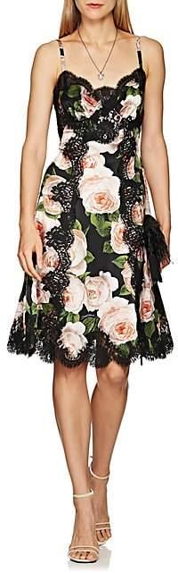 Dolce & Gabbana Women's Lace-Trimmed Rose-Print Silk-Blend Slip Dress