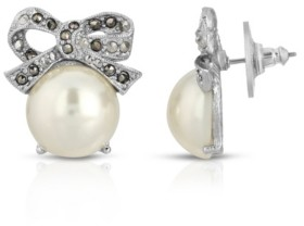 2028 Silver-Tone Imitation Pearl and Marcasite Bow Stud Earrings