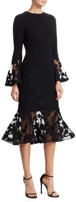 Teri Jon by Rickie Freeman Illusion Bell-Sleeve Bodycon Dress