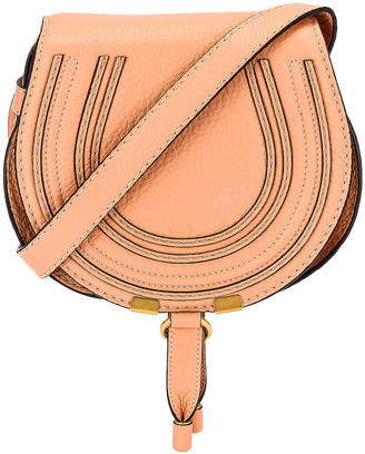 Chloé Small Marcie Grained Calfskin Saddle Bag in Peach Bloom | FWRD