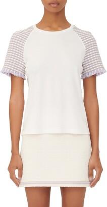 Maje Tweed Sleeve T-Shirt