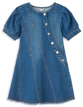 Habitual Little Girl's Denim Fringe-Trim Dress