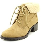 Ann Marino By Bettye Muller Vail Women Round Toe Canvas Tan Ankle Boot.