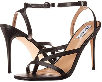 Steve Madden Amada Heeled Sandal (Black Leather) Women's Shoes