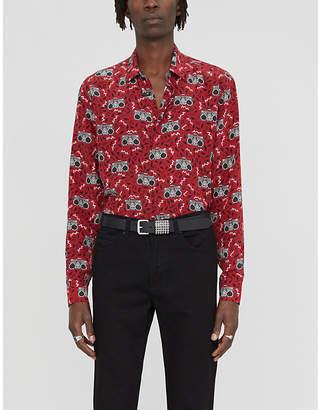 Saint Laurent Geometric-print regular-fit silk-crepe shirt