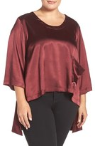 Melissa McCarthy Plus Size Women's Charmeuse High/low One-Pocket Tee