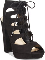 Bar III Nelly Lace-Up Block-Heel Platform Sandals, Only at Macy's