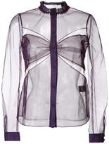 Mary Katrantzou cut-off detailing sheer shirt